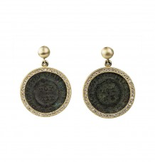 Roman coin pave diamonds earrings