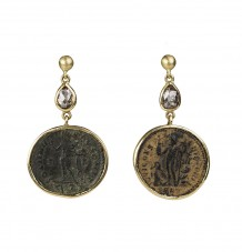 Roman coin with diamonds earrings