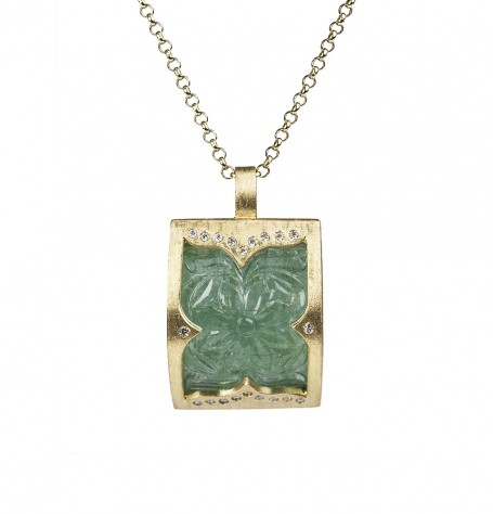 Carved Emerald with white diamonds