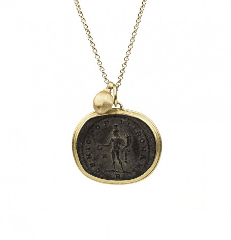 Roman coin and gold bead necklace