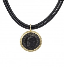 Roman coin with white diamonds pendant