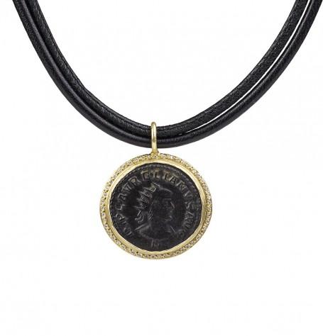 Roman coin with white diamonds pendant