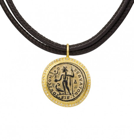 Roman coin white diamonds set in 24k gold