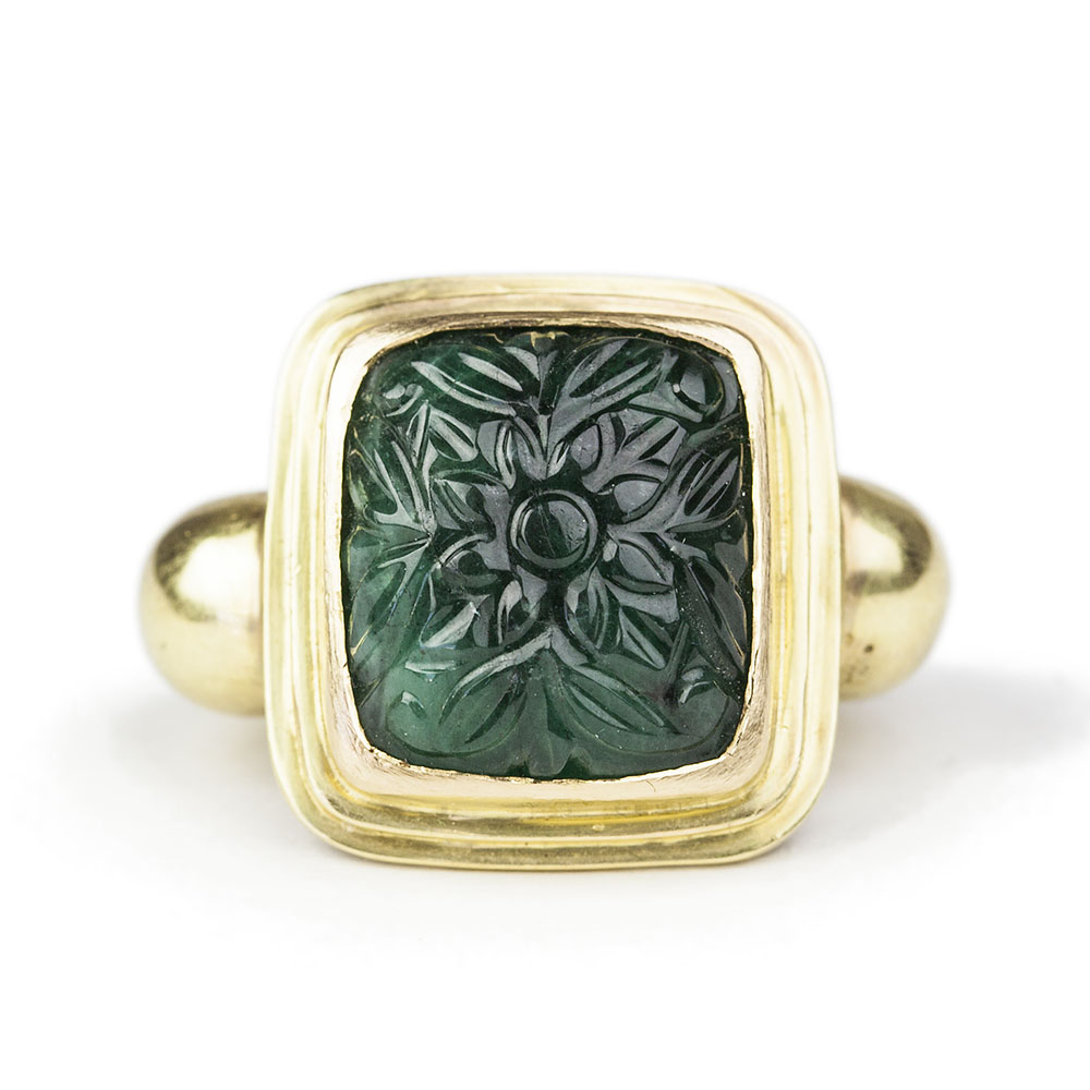carved emerald ring liberman jewellery
