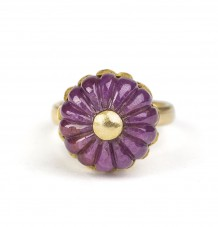 Carved Melon Ruby ring