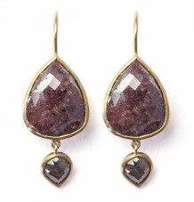 Rose-cut Brown & Grey Diamond 18k Gold Earrings