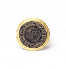 Ancient Roman Coin 24k Gold Ring