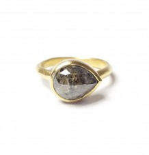 Grey Diamond 22k Gold Ring