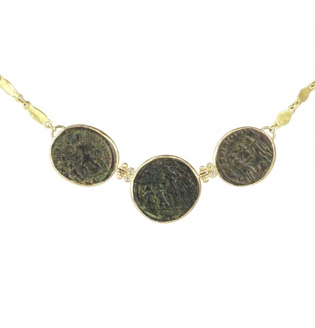 Ancient Triple Coin White Diamond Necklace