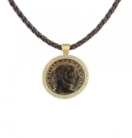 Ancient Roman Coin White Diamond Pendant on Braided Leather Necklace