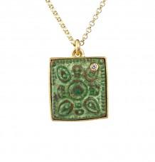 Ancient Bronze White Diamond Pendant Necklace