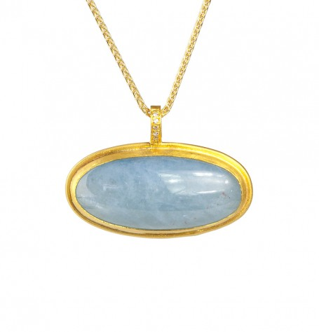 Aquamarine Cabouchon White Diamond Pendant Necklace