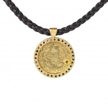 Ancient Ottomon Coin Black Diamond Pendant Necklace
