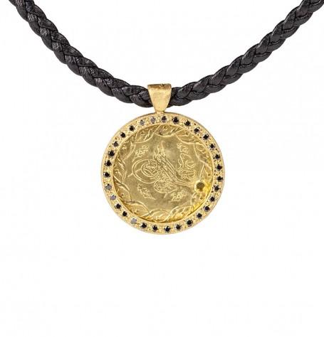 Ancient Ottomon Coin Black Diamond Pendant Necklace