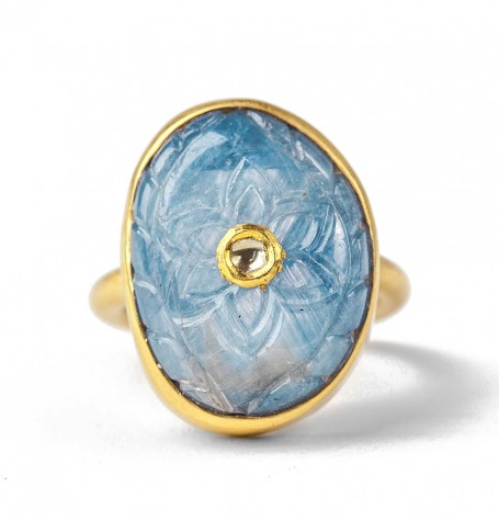 Carved Sapphire Ring