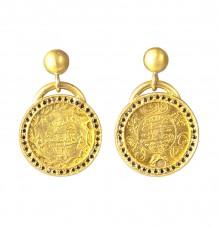 Ancient Ottomon Coin Black Diamond Earrings