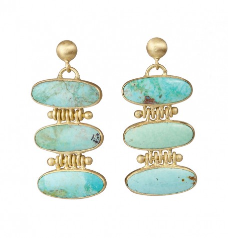 Turquoise 18k Gold Earrings