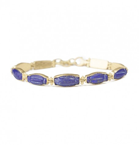 Gold Beaded Rivet Links with Gold Set Lapis Lazuli Bracelet