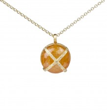 Yellow Sapphire White Diamond Pendant Necklace