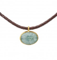 Carved Aquamarine Pendant Necklace