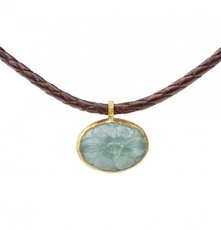 Carved Aquamarine Pendant Necklace