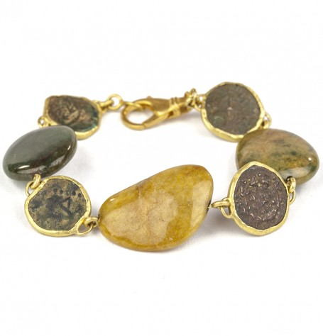 Jade Ancient Coin & 22k Gold Bracelet