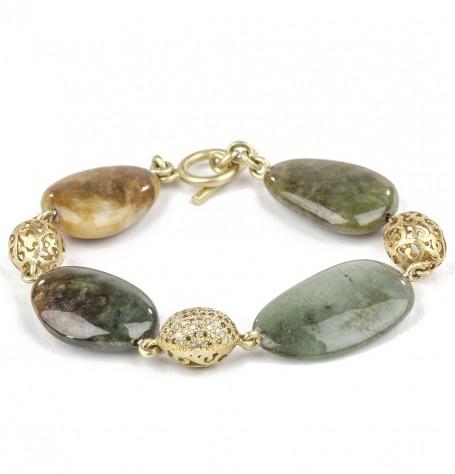 Jade Pave Diamond & 18k Gold Filigree Bracelet