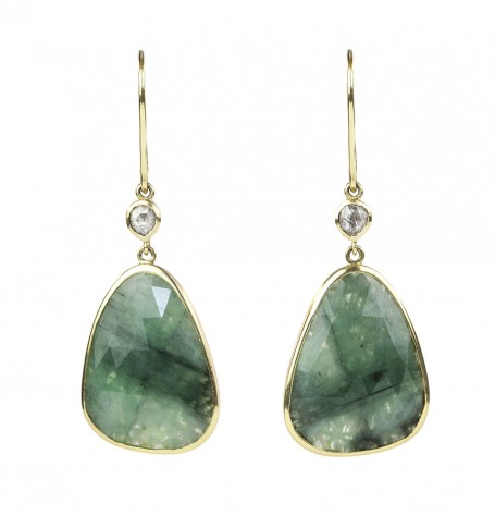 Emeralds & Diamonds Set in 14k Gold Filigree Earrings