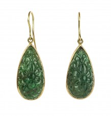 Carved Emerald Tears Set in 18k Filigree Earrings