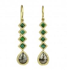 Rose-cut Diamond Emerald 18k Gold Earrings