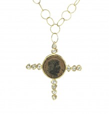 Ancient Roman White Diamond Cross Pendant Necklace