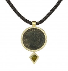 Ancient Roman Coin & Yellow Diamond Pendant on Leather Necklace