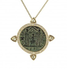 Ancient Roman Coin with White Diamonds on 18k Gold Necklace