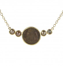 Ancient Coin Diamond Bar Pendant Necklace