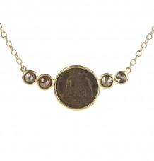 Ancient Coin Diamond Bar Pendant Necklace