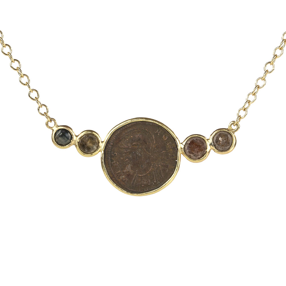 ancient coin bar pendant necklace liberman