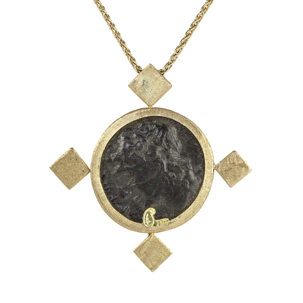 ancient italian coin emerald pendant necklace