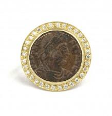 Ancient Roman Coin White Diamond Ring