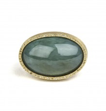 Jade Cabochon White Diamond Ring