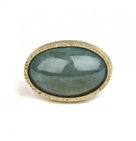 Jade Cabochon White Diamond Ring