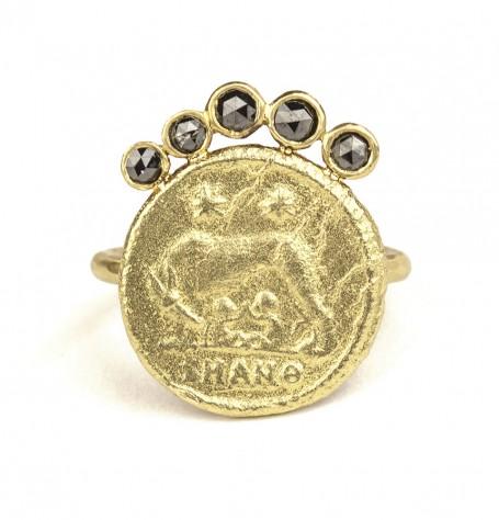 18k Gold Black Diamond Fan Ring