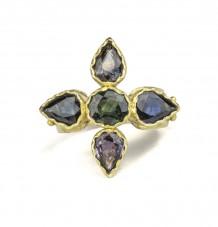 Sapphire Flower 18k Gold Ring