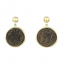 Ancient Coin 18k Gold Earrings