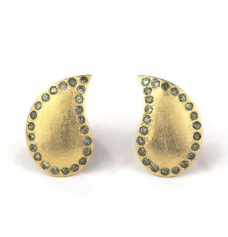 Paisley Earrings Green Diamonds