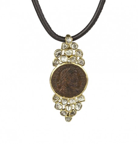 Ancient Coin Leather Necklace
