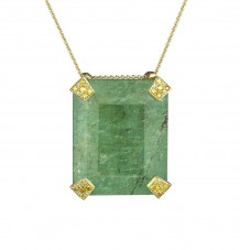 Emerald and Yellow Diamond Pendant Necklace