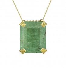 Emerald and Yellow Diamond Pendant Necklace