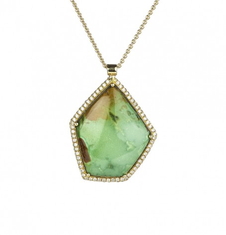 Turquoise Pave Diamond Pendant Necklace