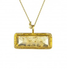 Yellow Beryl & White Diamond Pendant Necklace