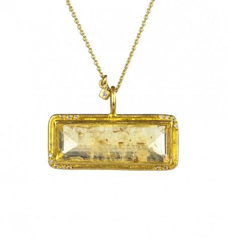 Yellow Beryl & White Diamond Pendant Necklace
